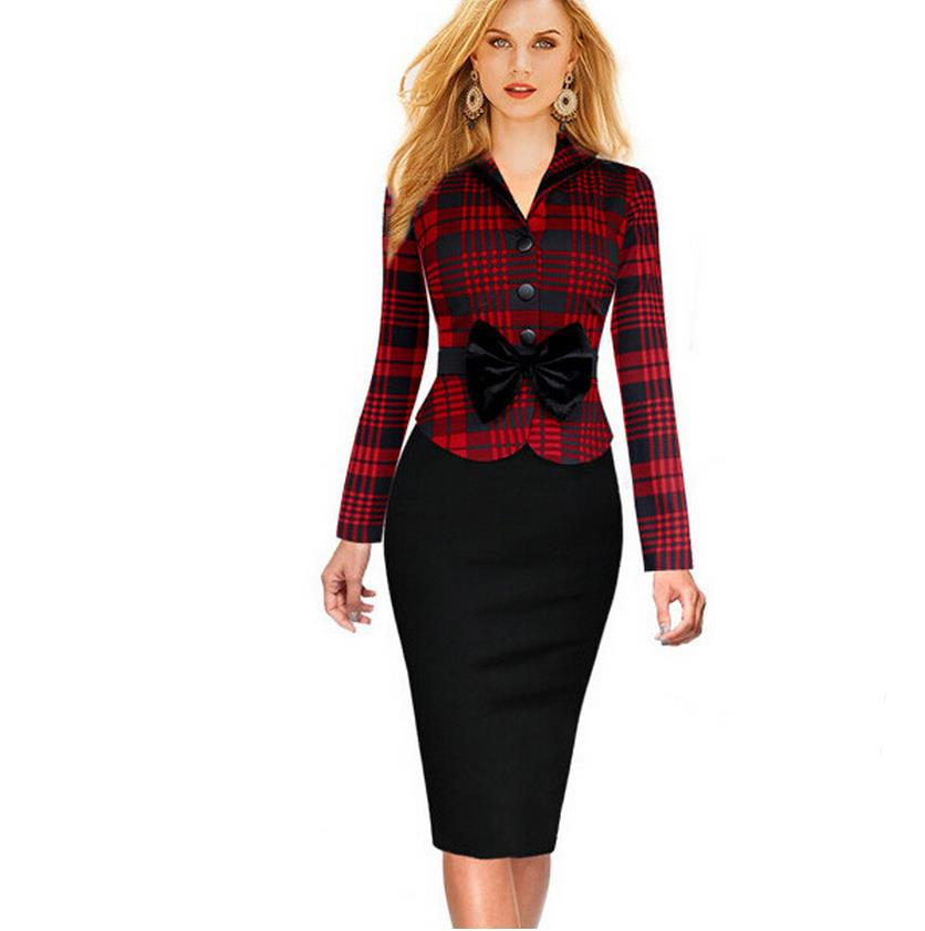 Womens Elegant Vintage font b Tartan b font Plaid Patchwork Contrast Tunic Wear to Work Office
