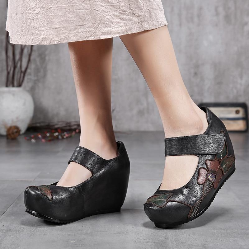 Chaussures Vent black 2019 Mary Rétro yellow Jane Main Grey Brown Talons Dames À Black Hauteur National Plateforme Brodé Green Augmenter ggXwU