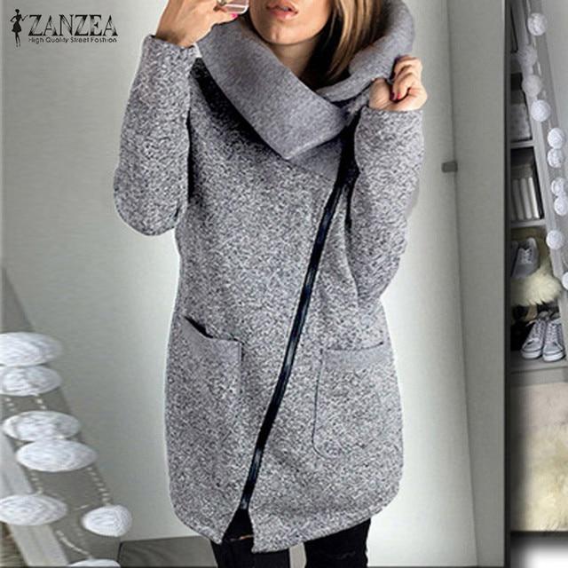 ZANZEA Women Hoodies Sweatshirts 2017 Casual Loose Long Sleeve Zip Solid Hooded Outwear Tops Fleece Long Jacket Coats Oversized