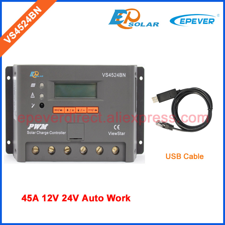 PWM Solar charger EPsolar controller 45A 45amp EPEVER VS4524BN with USB communication cable 12v 24v auto work vs6048bn 60a 24 48v auto pwm controller network access computer control can connect with mt50 for communication