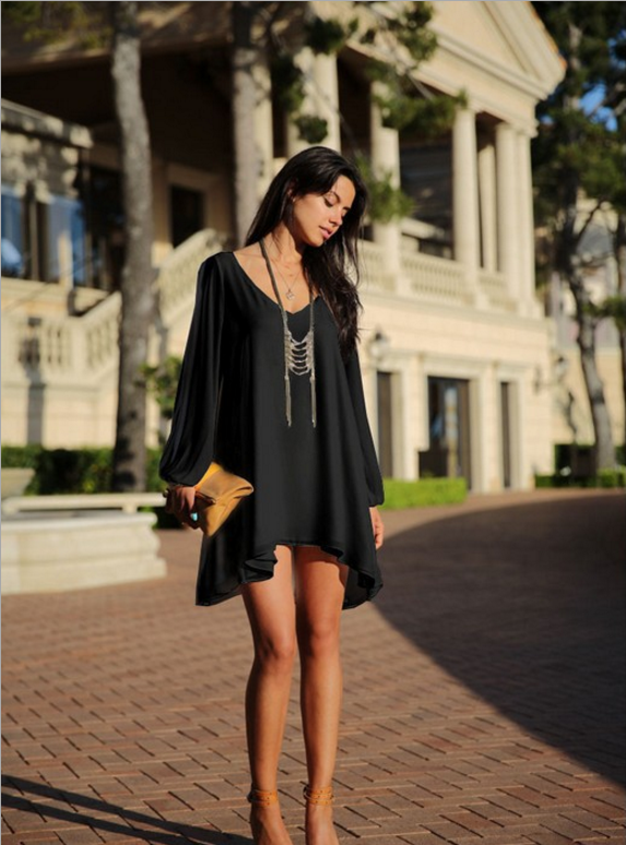 Black Summer Dress 2019 Casual Plus Size Women Clothing Long Sleeve Solid Color Chiffon V Neck Beach Dress Loose Party 1
