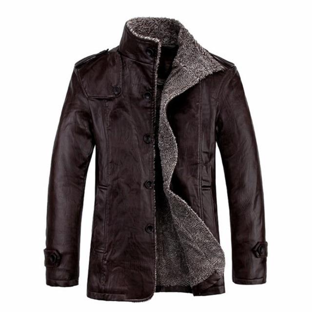 2017 PU Leather Jacket Men Fashion Leather Turn Down Collar Jackets Coat Plus Size Slim Fit Men Leather Jackets Warm Winter