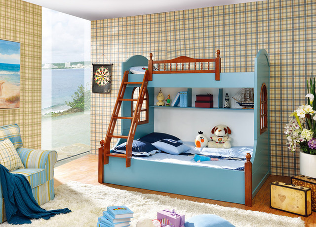 Bunk Bed With Stair For Kids Bedroom Furniture Wood Mdf Made In China Factory Good Quality Stock Lovely Boy Use