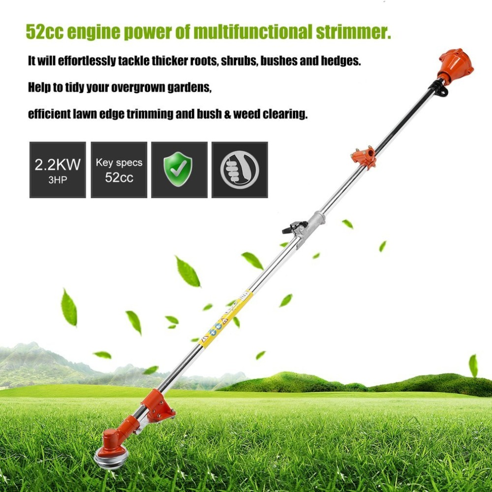 52cc Multifunctional Petrol Outdoor Grass Strimmer Brush Cutter Trimmer Garden Lawn Mower Pole Rod Bar 1pc nylon grass trimmer head for petrol brush cutter grass trimmer lawn mower gasoline engine garden tools easy to coil sale