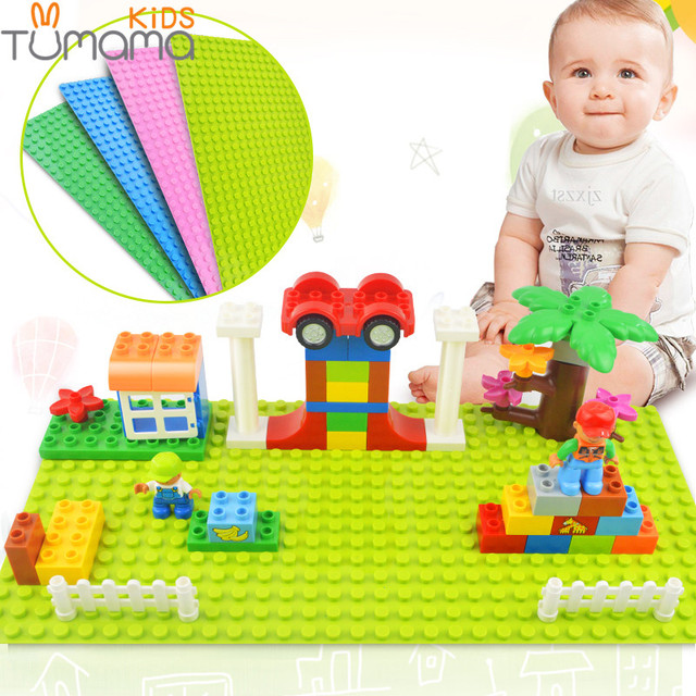 Big Size Blocks Base Plate 32*16 Dots 51*25.5 cm Baseplate DIY Building Blocks Toys For Children Compatible Legoinglys Duplo