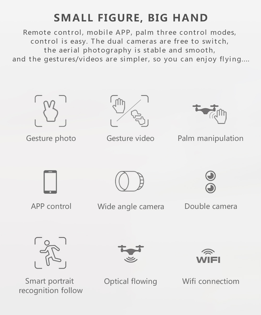 RC Helicopter With HD Camera Wide Angle Selfie Drone Palm Control Quadcopter With WiFi Camera SG700 Upgraded Version SG700s Dron 2