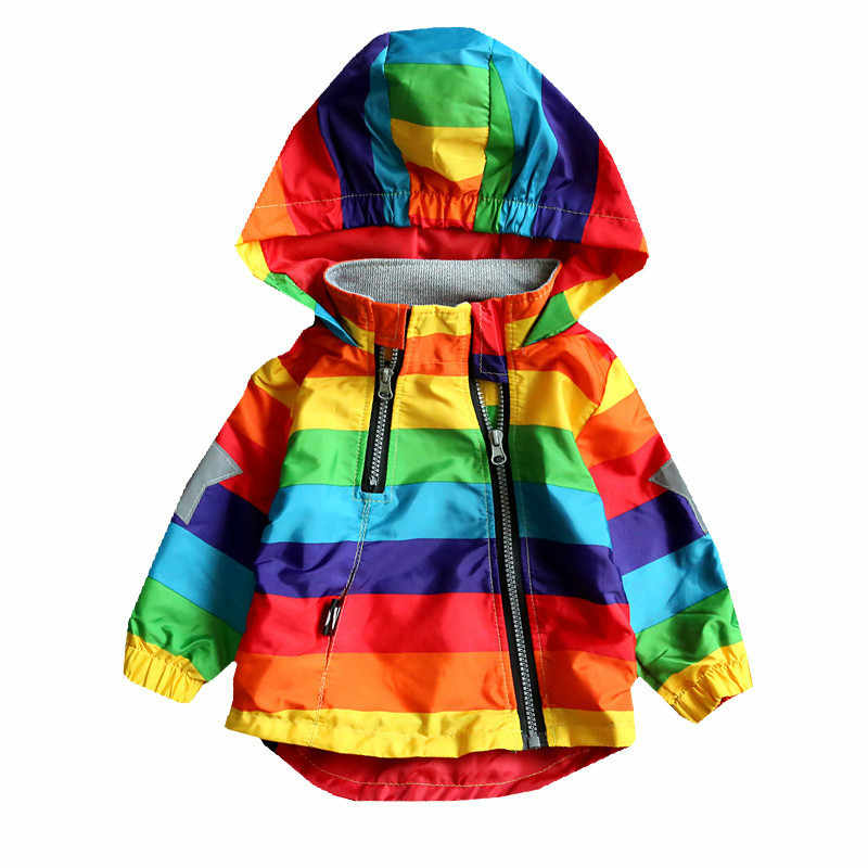 LILIGIRL Boys Girls Rainbow Coat Hooded Sun Water Proof Children's Jacket for Spring Autumn Kids Clothes Clothing Outwear