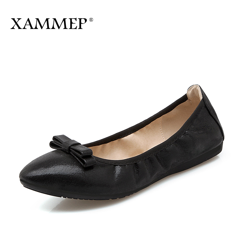 Xammep Women Flats Spring Autumn Brand Women Shoes Women Sneakers Female Casual Shoes Soft Comfortable Pointed Toe Plus Big Size xammep women flats spring autumn brand women shoes women sneakers split leather basic female casual shoes lace up round toe