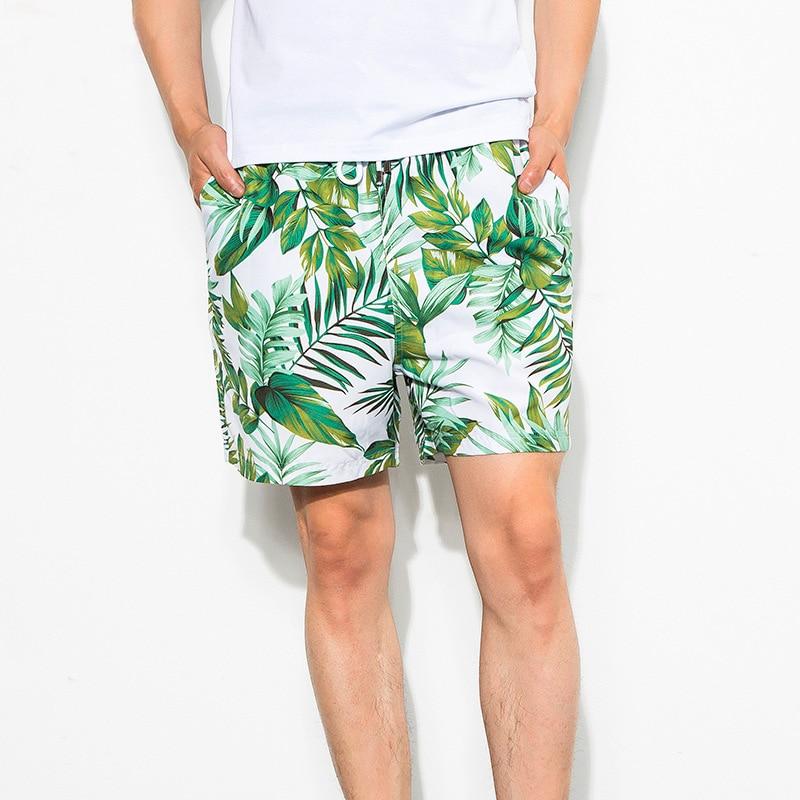 2019 Hot Men's Board Shorts Quick Dry Beach Shorts Swim Trunks Mesh Lining Inside Man Green Leaf Print Beach Pants Surfing Short