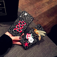 New 2017 Bee Luxury Flash Powder Sequins For Iphone7 6s 6plus Mobile Phone Cases 7Plus Hard