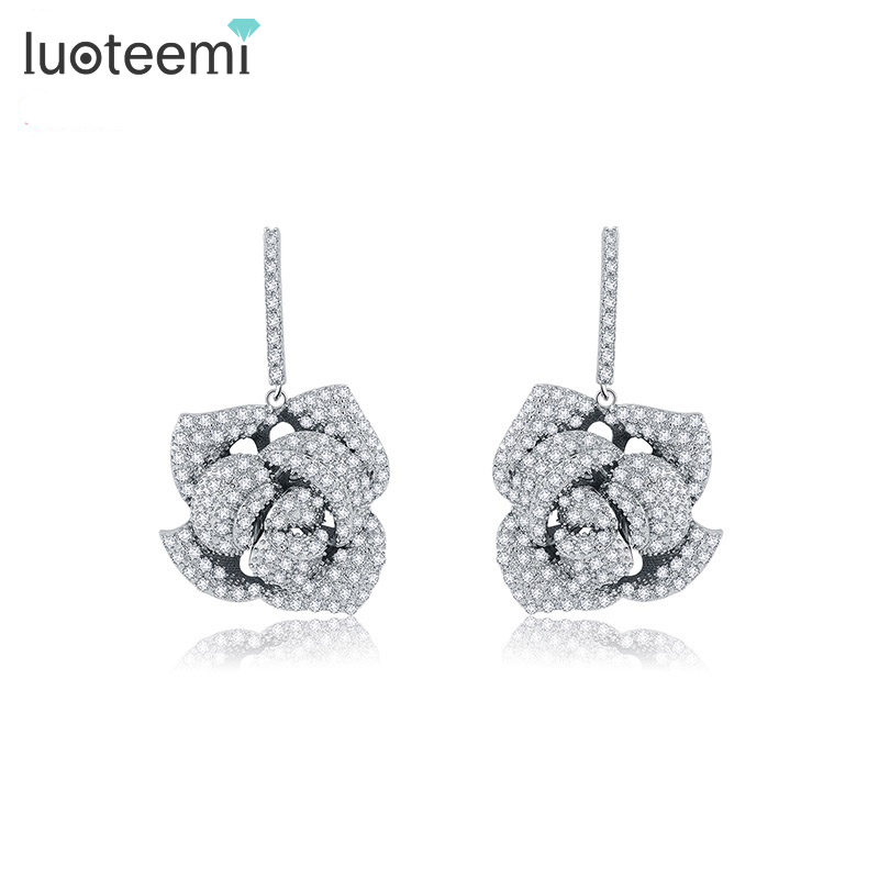 LUOTEEMI New Luxury Statement Micro Paved Cubic Zircon Rose Flower Drop Earrings Wedding Bijoux Bridal Brincos