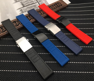 Top Brand watchband Silicone Rubber Black Blue Red 22mm 24mm Bracelet For navitimer/avenger/Breitling strap Wristband logo on(China)