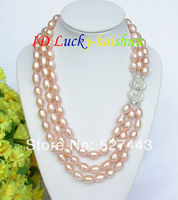 Wholesale free shipping >>Genuine 3row rice pink pearl necklace 925sc clasp