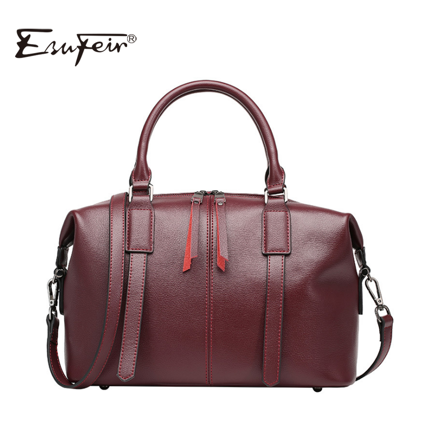 2018 ESUFEIR Brand Genuine Leather Women Bag Boston Handbag Solid Cowhide Leather Shoulder Bag Large Capacity Pillow Women Bag 2017 esufeir brand genuine leather women handbag fashion shoulder bag solid cowhide composite bag large capacity casual tote bag