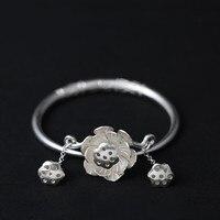 990 стерлингового серебра женские украшения ручной работы резные браслет с лотосом (SYF)
