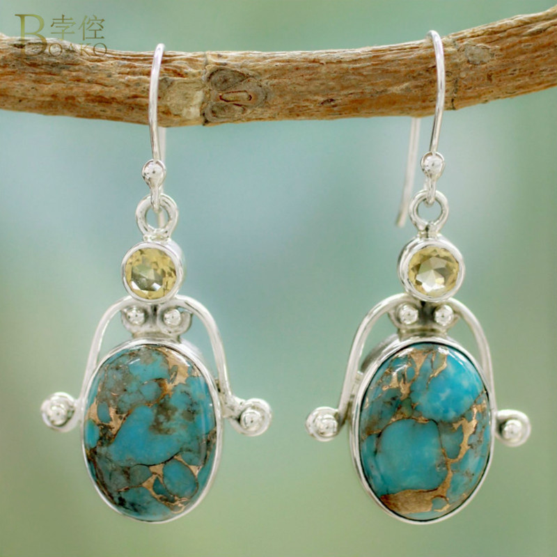 BOAKO 1 Pair Ethnic Boho Drop Dangle Earring Vintage Turquoises Stone Pendant Long For Women Girls pendientes mujer