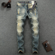 Italian Style Fashion Men Jeans Vintage Designer Cotton Denim Pants hombre Slim Fit Ripped Streetwear Classical