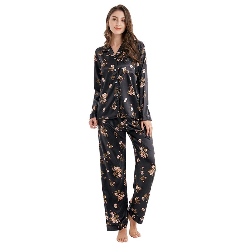 Tony&Candice Women Silk Pajamas 2-Peice Set Satin Silk Pijama Ladies Sleepwear Soft Pyjamas Suit Long Sleeves Nightgown Homewear