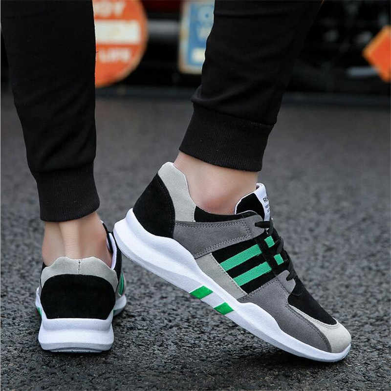 2018 الأسود عالية الجودة الرجال حذاء كاجوال مختلط الألوان نمط جديد الذكور رياضية الربيع والخريف طالب شقة حذاء كاجوال 39- 44