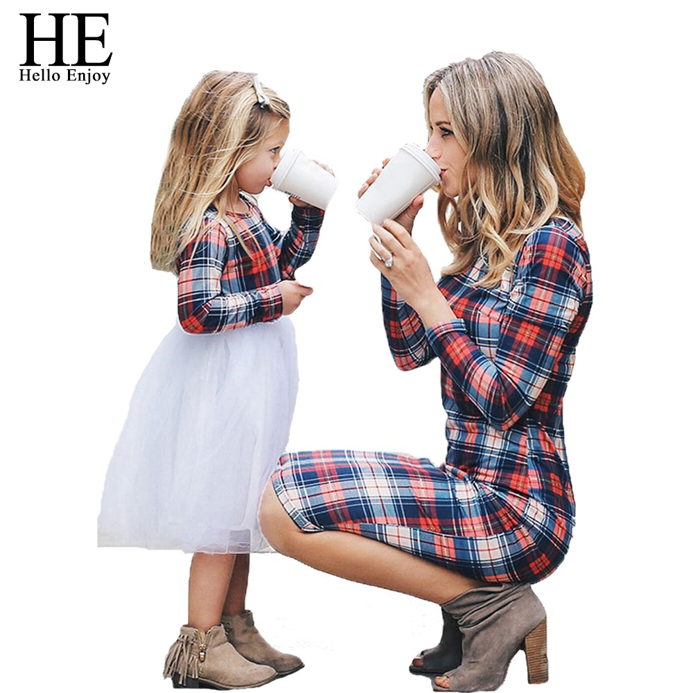 419937d1 HE Hello Enjoy Mother Daughter Dresses Spring Autumn 2019 Matching Outfits  Moms And Girls Clothes Long