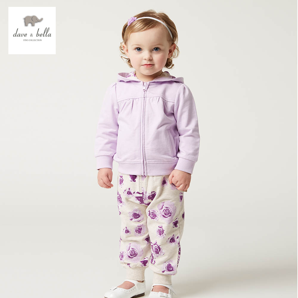 DB4794 dave bella spring new design baby girls lilac sports sets boutique clothes flower printed hooded