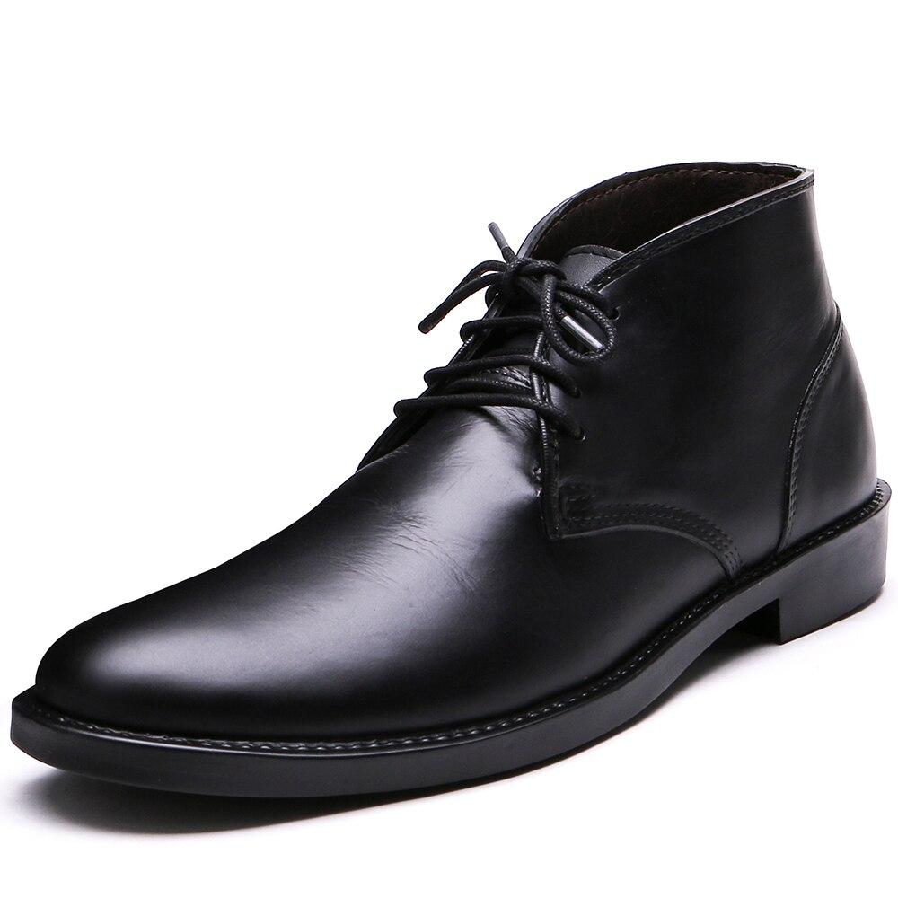 TONGPU Men Boots PVC Slush Lace-Up Chukka Boots Waterproof Ankle Boots 79-317