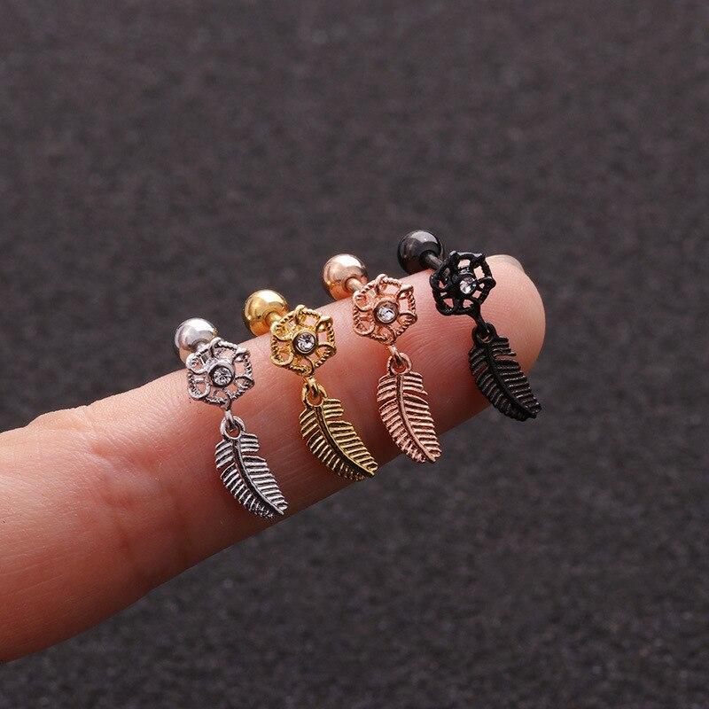 Stud-Earring Piercing Helix Jewelry Tragus Stainless-Steel Gold-Body Dangle-Ear Silver