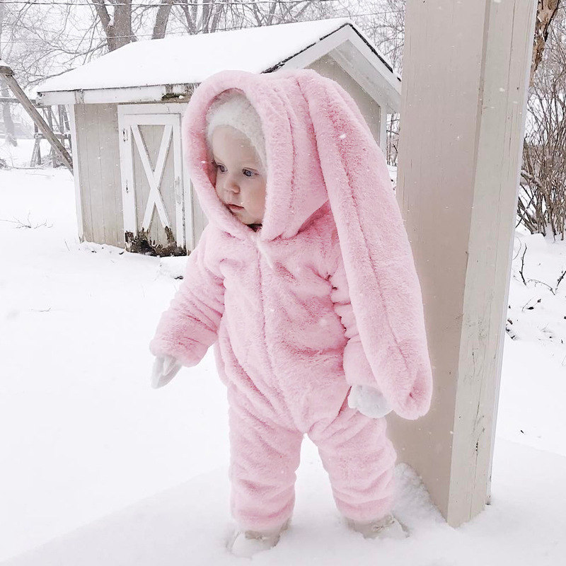 pink Rabbit ears Baby Rompers Animal Clothing Set Winter baby Girls Warm Fleece Clothes Overalls Newborn Infant Jumpsuit infant baby boys clothes casual unisex newborn baby rompers fleece stripe long sleeve hooded one piece clothing overalls gray