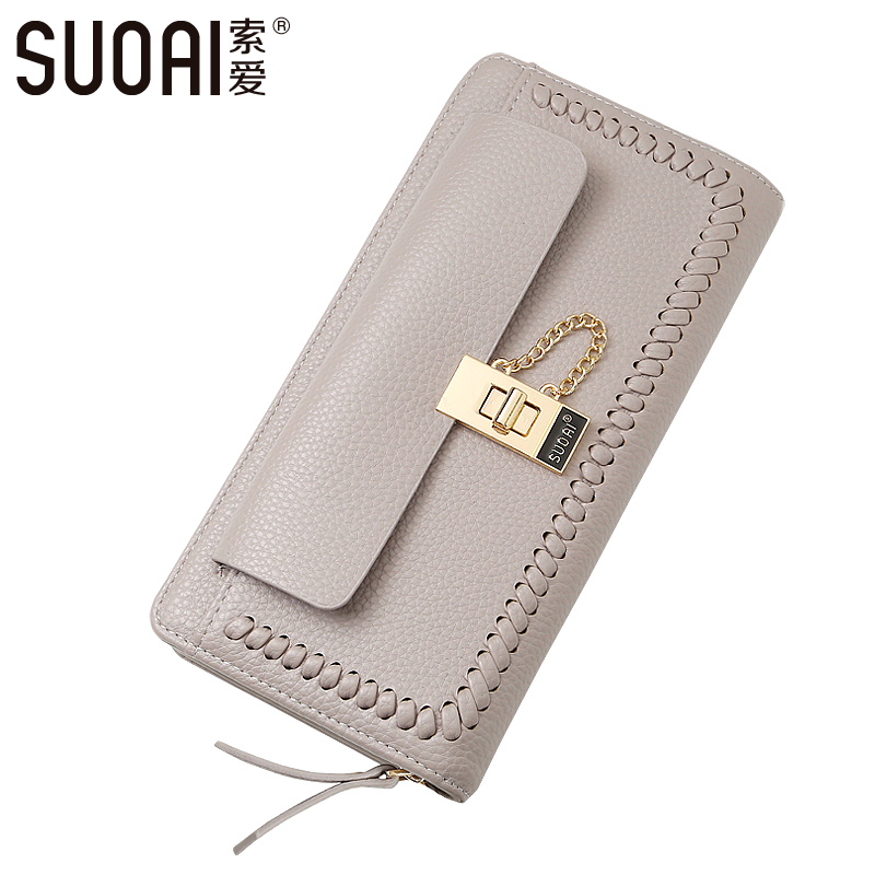 цены  SUOAI 2017 New Women Wallet Fashion Pu Long Purse High Quality Local Lady Zipper Wallets Dollar Price