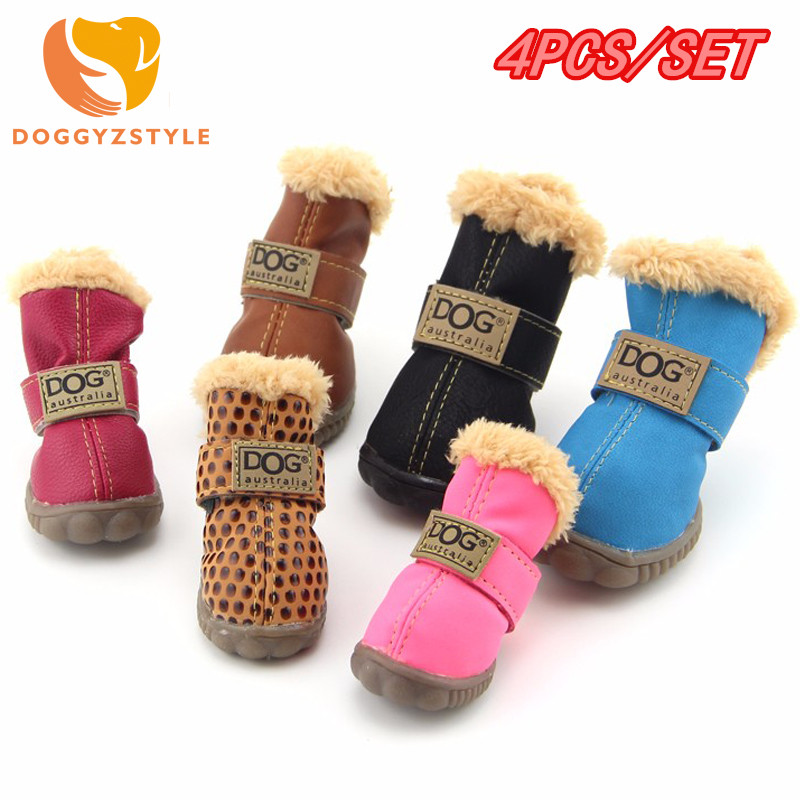 Winter Pet Dog Shoes Waterproof 4Pcs/Set Small Big Dog's Boots Anti Slip Sneaker For Chihuahua Puppy Pets Outdoor Products