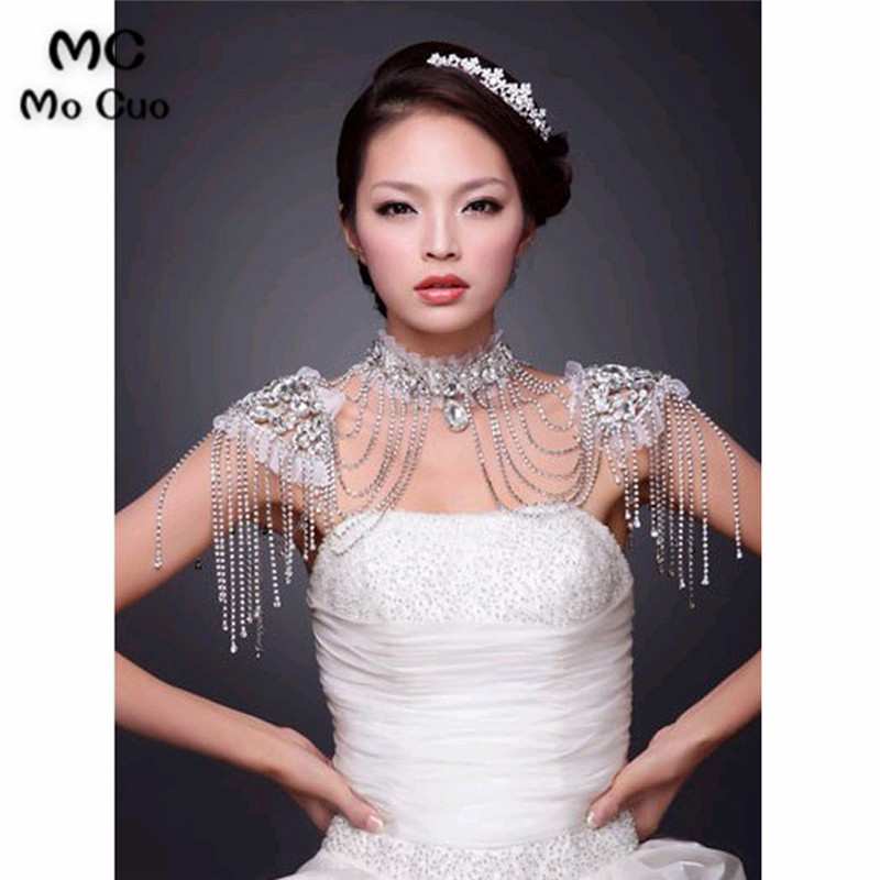 In Stock 2018 Promotion Crystal Jewelry Lace Ivory Wedding Shawl Jacket Bolero Jacket Beaded Bridal Bridal