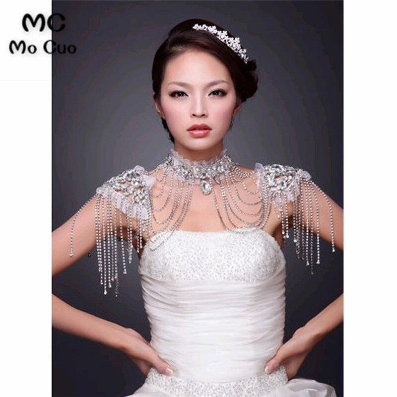 En Stock 2018 Promotion bijoux en cristal dentelle ivoire mariage châle veste boléro veste perlée mariée enveloppes de mariée