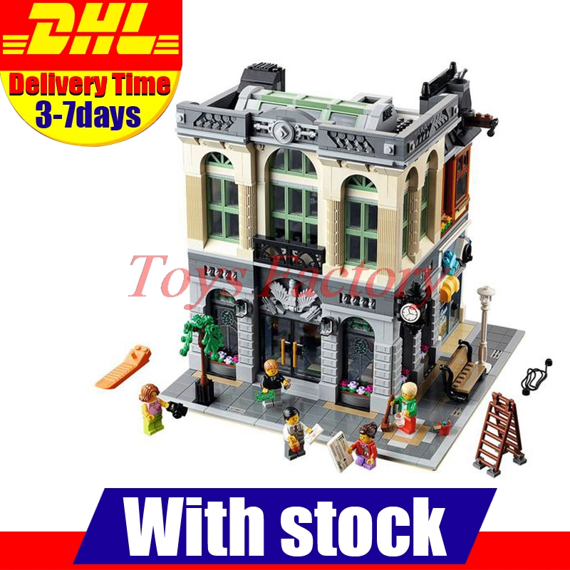ФОТО DHL LEPIN 15001 City Street Clone  Brick Bank  Building Blocks Toys Modular City Series Model Kids Gift Compatible 10251