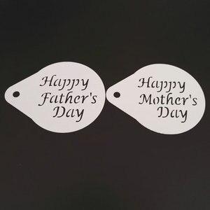 2,8 дюйма трафарет для украшения торта «Счастливые матери и отцы», пластиковый трафарет для капучино, инструменты для бариста