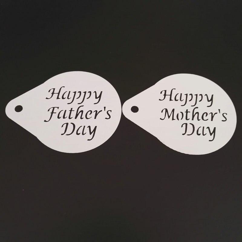 2.8 Inch Happy Mothers Fathers Day Coffee Stencil Cake Decoration Plastic Latte Art Cappucino Stencil Barista Tools