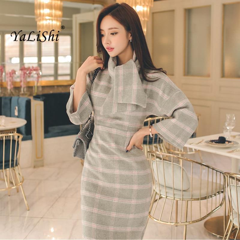 2019 podzim zima ženy šaty Midi kancelářská párty vlněné vintage bodycon kostkované šaty vestidos šátek batwing rukáv šaty