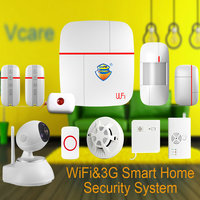 1set Vcare WIFI 3G WCDMA Smart Home Alarm Security System With Wireless Detector Sensor SOS