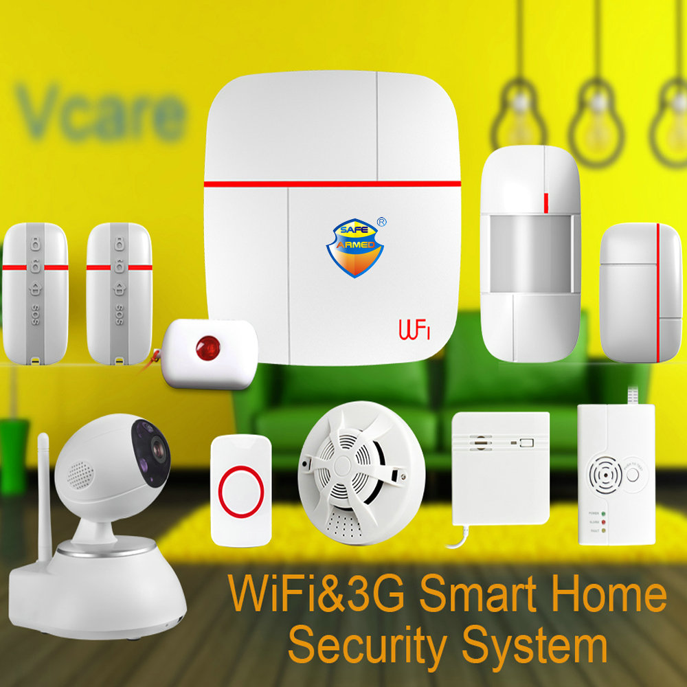 купить (1set)Vcare WIFI 3G WCDMA Smart Home Alarm Security System with Wireless Detector & Sensor & SOS Button & HD PTZ IP Camera Ver C дешево