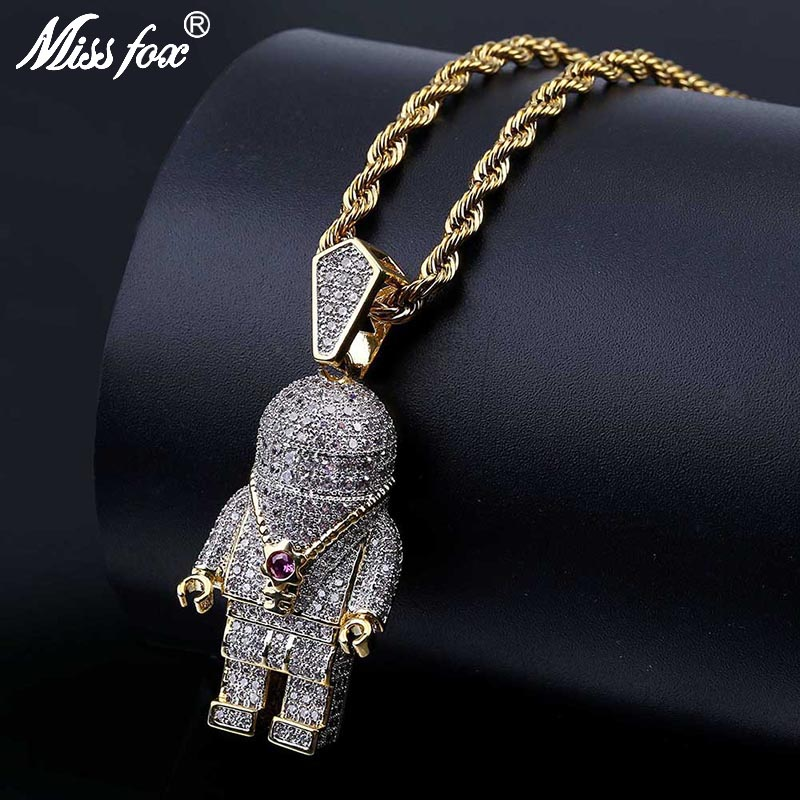 ROSE GOLD//GOLD FINISH HIP HOP BLING BEADED FASHION PENDANT /&  CHAIN