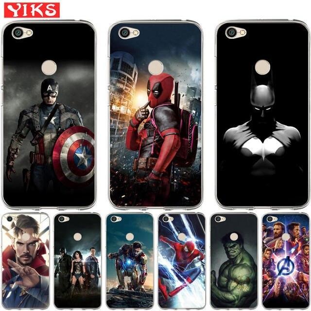 Vingadores Marvel Heroes Para Xiao mi luxo vermelho Mi 3 s 4X mi 6 A1 5X nota 3 4 4X 5A 5 Plus Pro Prime Caso Capa Fundas Coque Estojo