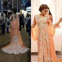 Оранжевый мусульманские Вечерние платья 2019 A Line шифоновая с длинными рукавами аппликация Кафтан Дубай Саудовская Арабский длинное вечерне