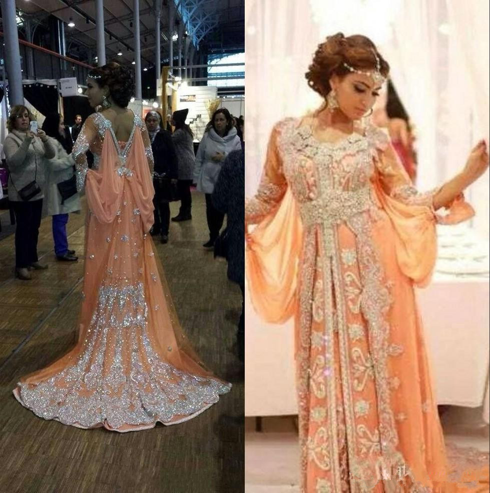 Orange Muslim   Evening     Dresses   2019 A-line Long Sleeves Chiffon Applique Kaftan Dubai Saudi Arabic Long   Evening   Gown Prom   Dresses