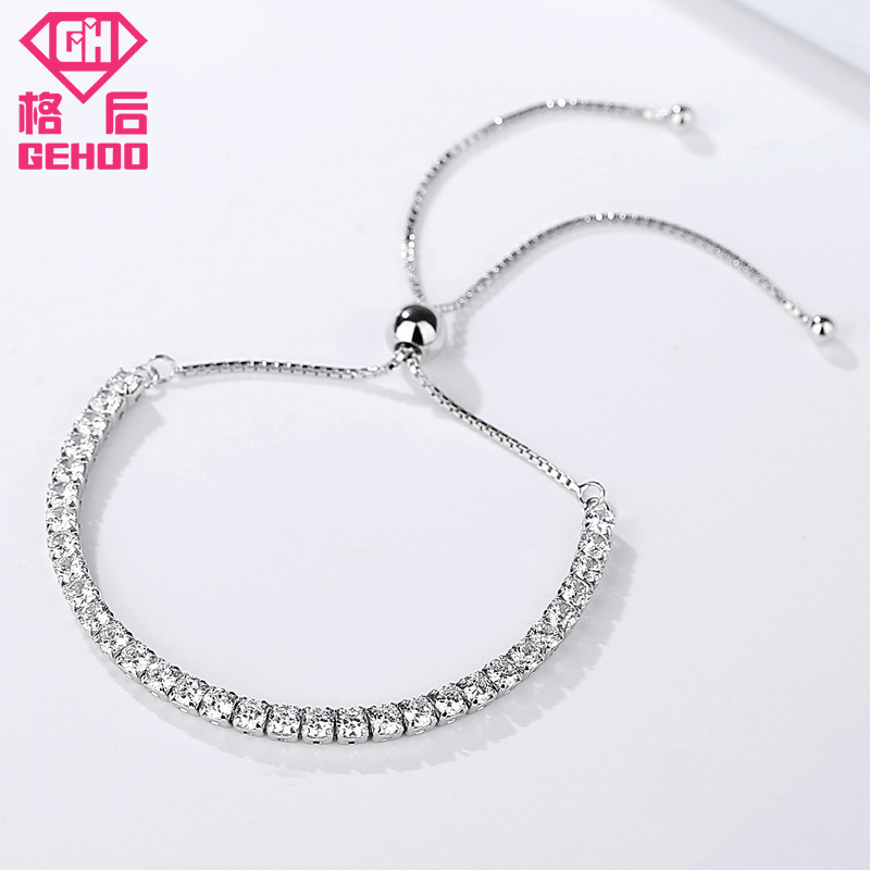 Gehoo 2018 New Simple Design 925 Sterling Silver Chains Wedding Charm Bangle Bracelets For Woman Lady Nice Jewelry Gift In Bangles From
