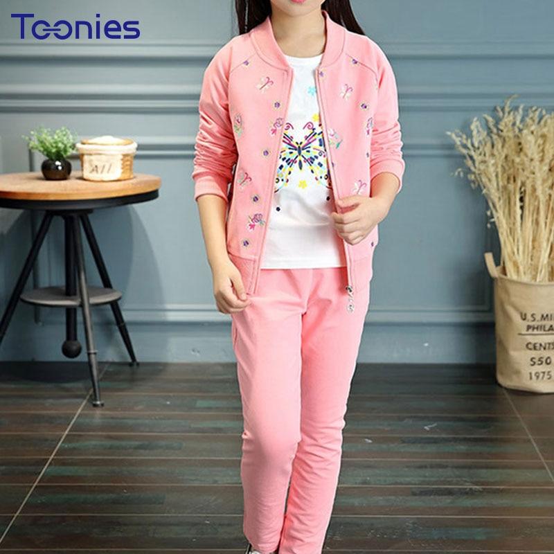 3pcs Children Clothing Sets Long Sleeves Girls Pants Suit Flowers Printed Girl Sportswear Zipper Child Clothes Set School Suits