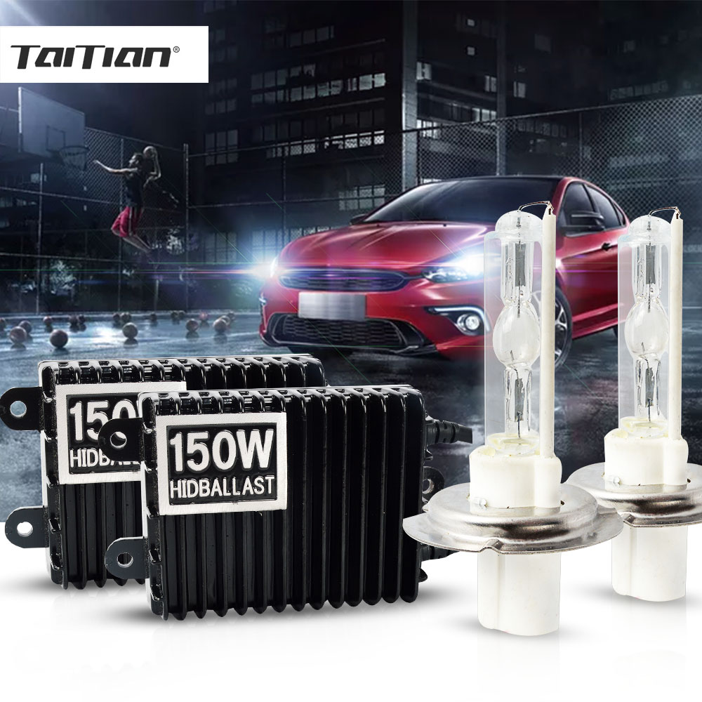 цена на Taitian 2Pcs 12V 150W Hid Xenon Kit H1 lamp ballast h4 super white H7 headlight bulb H3 light H11 H8 H9 9005 HB3 9006 HB4 6000K