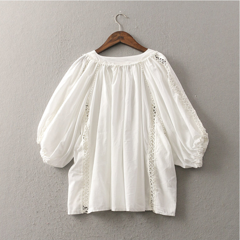 0a6a1d4d53a Baby Doll Cute White Shirts Plus Size Women Clothing 2018 Spring Summer  Tops Ladies Hollow Out Half Lantern Sleeve Shirts