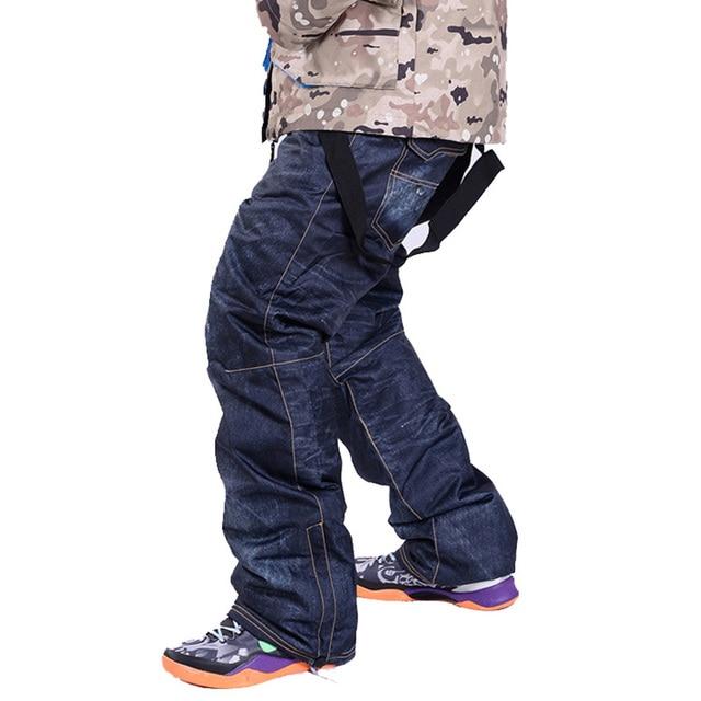 disponibile miglior sito più popolare US $36.99 45% di SCONTO Denim bretelle per pantaloni Da Sci uomini  impermeabili pantaloni da neve pantaloni Da Sci spessore caldo Traspirante  jean ...