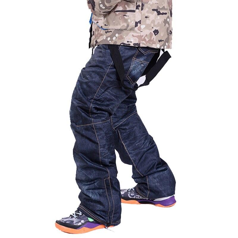 Prix pour Denim bretelles pour Ski pantalon hommes de neige imperméables pantalon de Ski pantalon chaud épais Respirant jean snowboard pantalon Plus La taille S-3XL