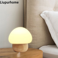 Wooden Craft Mushroom LED Night Light Creative Silicone Eye Protection Table Lamp RGB Remote Control USB LED Bedside Lamp MY