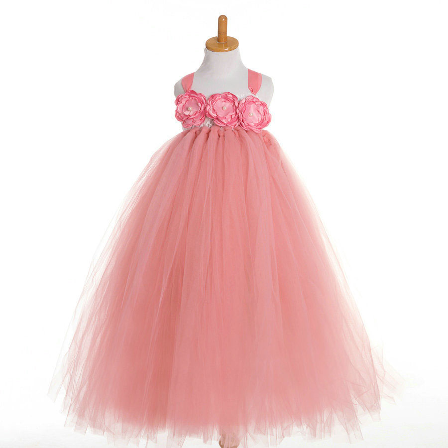 Wholesale & Retail Clothing Fashion 2 to 10 Year Pink Red Tulle Lovely Party Dress Girl Children Wedding Gowns